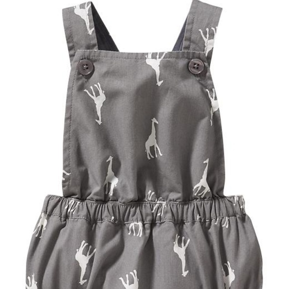 3849203a4d5 Old Navy gray giraffe ruffle butt romper new